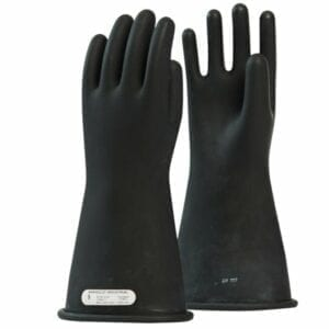 Class 1 Rubber Glove 14″ Length, 7,500 Max Use Voltage Black